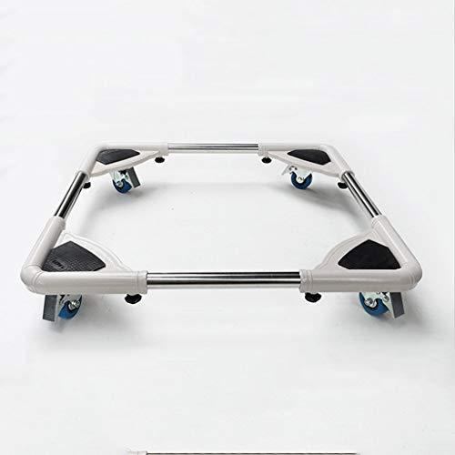 Verstellbarer Waschmaschinenwagen Verstellbarer Waschmaschinenständer aus Edelstahl für Wäschetrockner Kühlschränke Bodenwannen für Waschmaschinen