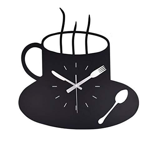 Relojes de Pared Reloj de Pared de Metal Cocina Moderna Inicio Reloj de Hora del café Negro Forma de Copa Gráficos de Pared Reloj Reloj numérico Hueco Durable (Color : Black, tamaño : 20inch)