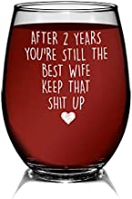 YouNique Designs 2 Year Anniversary Stemless Wine Glass for Her, 15 Ounces, Funny 2nd Wedding Anniversary Wine Cup for Wife, Two Years, Second Year