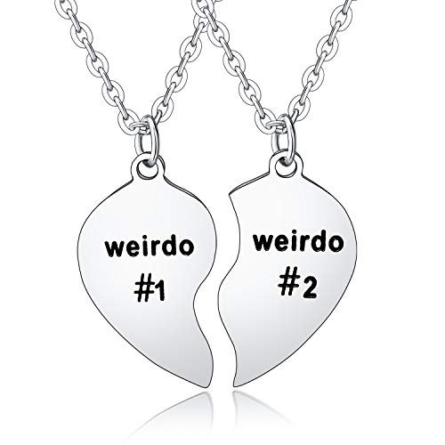 BESPMOSP 2PCs Friendship Gifts Weirdo 1 Weirdo 2 Matching Set Best Friends Necklace Birthday Gifts for Women Men