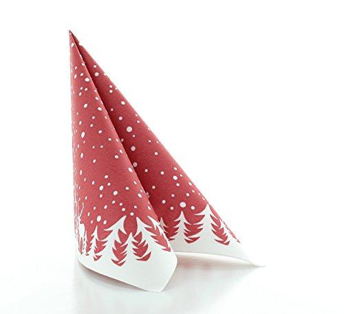Sovie HORECA Serviette Marvin in Bordeaux | Linclass® Airlaid | Weihnachtsserviette festlich stilvoll | 40x40cm | 50 Stück