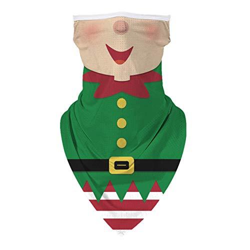 KIDVOVOU Ugly Christmas Santa Face Mask Reusable Washable Cloth Bandanas Women Men Neck Gaiter Cover Ear Loops,Cute Christmas Elf