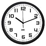 ANSIO Horloge Murale, Horloge Murale Ronde avec Cadre Noir, Fond Blanc et Chiffres Noirs, idéale pour la Maison, la Cuisine et Le Bureau.