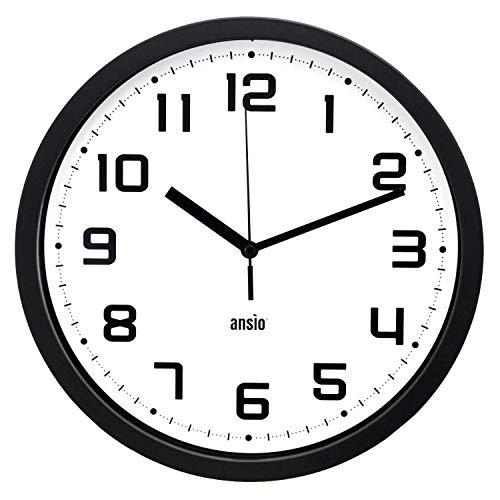 ANSIO Orologio da Parete, Orologio da Parete Rotondo con Cornice Nera, Sfondo Bianco e Numeri Neri, Ideale per casa, Cucina e Ufficio.