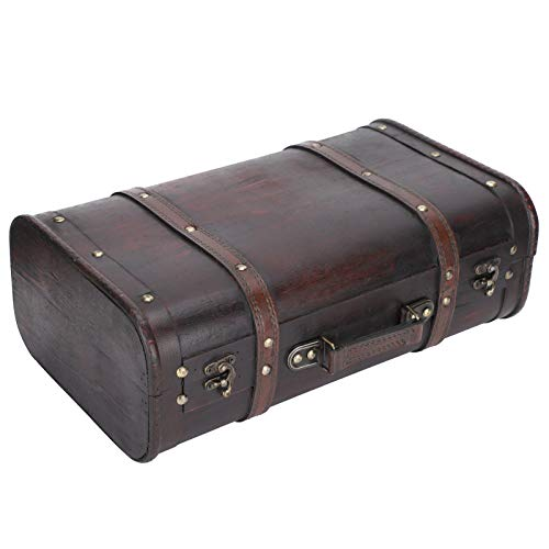Decorative Suitcase, Wooden Double‑layer Vintage Suitcase, Antique Style for Men Women Photo Studio