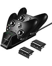 Shumeifang Estación de Carga rápida Xbox One, Doble Estación de Carga Cargador Rápida con 2 Recargable Baterías de 1200mAh, para Controladores Inalámbricos Xbox One/S/X (Estilo Nuevo) - Negro