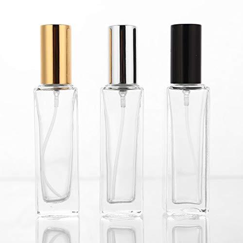JFCXBSSL 3 botellas de spray de agua de 20 ml de vidrio transparente vacías, atomizador, pulverizador, rellenable, funda de fragancia con trave