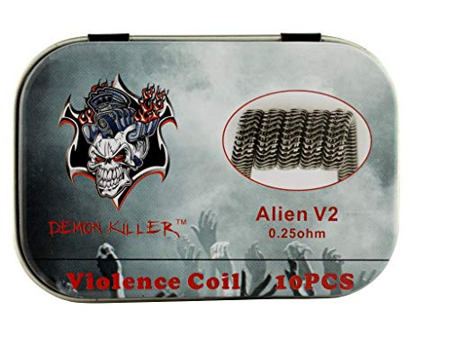Demon Killer Alien 2V Vape Vorkompilierte Draht, Kanthal A1 + SS316L vorgefertigte Spulen für RBA/RDA/RTA, 10 Stück Clapton Coil Fertigwickelung Drähte, 0.25ohm Wickel-Draht