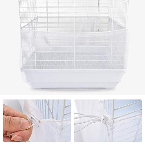 Furpaw Bird Cage Net Cover, Stretchy Bird Seed Catcher Birdcage Skirt Nylon Mesh Guard, Ventilate Dustproof (White)