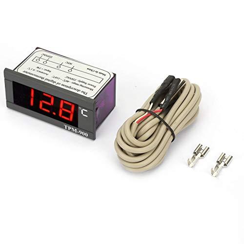 Controlador de temperatura, TPM-900 Controlador de temperatura digital 220V Medidor de panel LED con sensor Termostato Controlador medidor de temperatura Medidor de temperatura digital LED