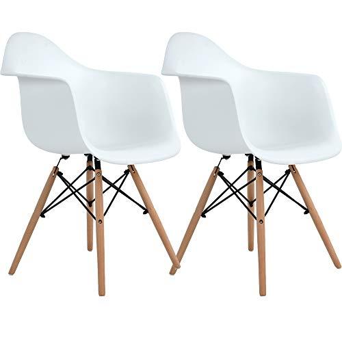 DORAFAIR 2er Set Modern Esszimmerstühle Wohnzimmerstuhl, Skandinavisch Armlehnstuhl mit Solide Buchenholz Bein, Weiß