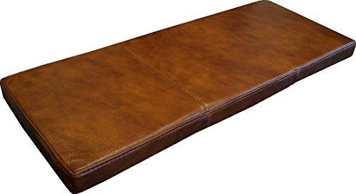 Quattro Meble Braun Echtleder Bankauflage Sitzkissen Lederkissen Sitzpolster Bank Auflage doppelt genähtes Echt Leder Kissen Sitzauflage (40 x 150 cm)