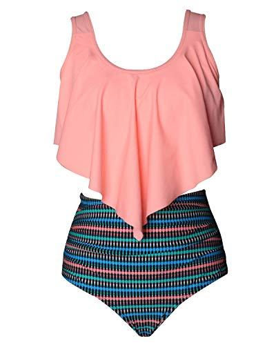 Preisvergleich Produktbild Flyrong Damen Bikini-Set mit hoher Taille,  gepolstert,  für Damen,  Badeanzug Gr. (L-Orange+Blue,  XL)