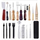 JasCherry 20 Pcs Kit Outillage Maroquinerie Outils de Couture en Cuir - Kit Artisanat du Cuir pour Piquer/Marquer/Travailler/Estampage/Coudre/Rainurer/DIY #1