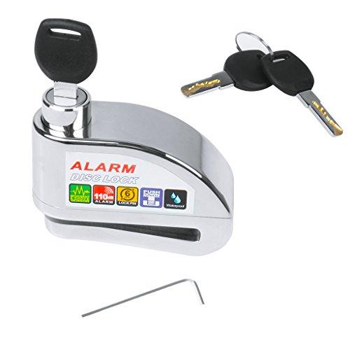 Motorcycle Bike Disc Brake Lock, EFORCAR Anti-theft Ultra 110db Alarm Bicycle Brake Disc Wheel Security Lock for Scooters Motorbike (Silver)