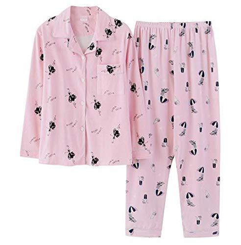 XFLOWR Herbst 100% Baumwolle Cartoon Damen Langarm Pyjama Set Turn-Down Kragen...