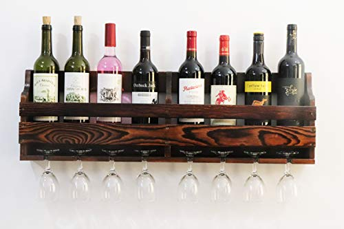 JRLinco Wine Rack, Weinglashalter, Weinregal an der Wand, Weinglas & Wein Flaschenregal, Pinienholz, 8 Flaschen 8 Lange Stem Glashalter(Charcoal Walnut Color)