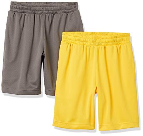 Amazon Essentials Active Performance Mesh Basketball Gym Shorts, 2er Pack Anthrazit/Gold, XL