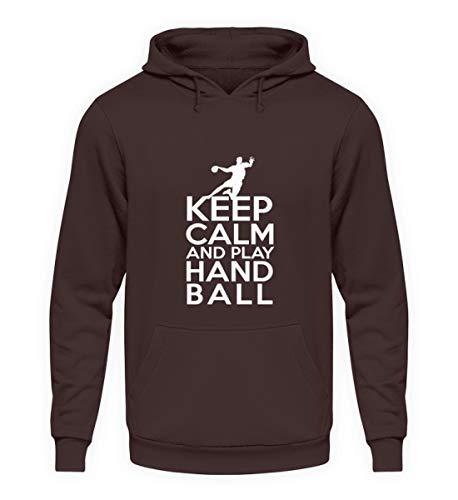 Keep Calm Bleib ruhig und Spiel Handball - Unisex Kapuzenpullover Hoodie -M-Schokolade