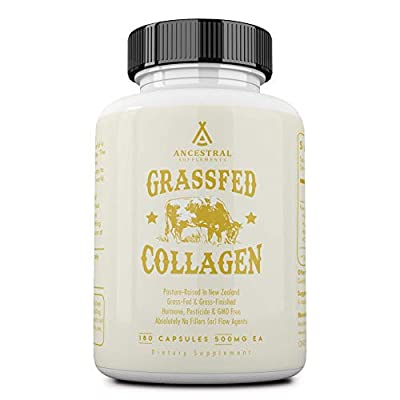 Ancestral Supplements Grass Fed (Living) Collagen—Supports Joints, Marrow Bones, Cartilage, Skin, Hair, Nails (180 Capsules) from Ancestral Supplements