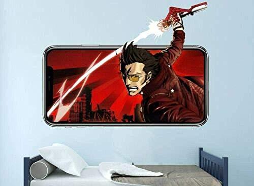 SJXWOL Sticker Dessin animéStickers muraux No More Heroes Wall Decal Game 3D Sticker Décoratif Mural Vinyle Chambre d'enfants 55x60cm