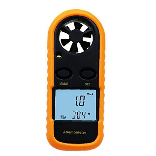 Anemómetro digital LCD velocidad del viento Escala calibrador del metro 0-30m / s de velocidad de flujo de aire de naranja