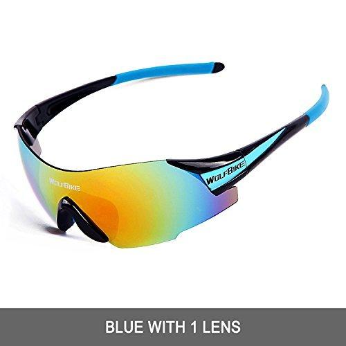 Wolfbike UV400 Cycling Glasses Mountain Bike MTB Sunglasses Eyewear - ONE Lens (New Black Blue)