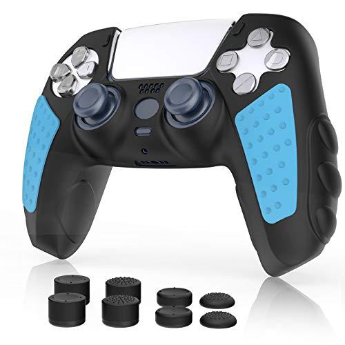 Simpeak Cover Skin Compatibile per PS5 Grip Silicone con 8 Gommini Coprilevette Analogiche Thumb Grip (4 Paia), Nero