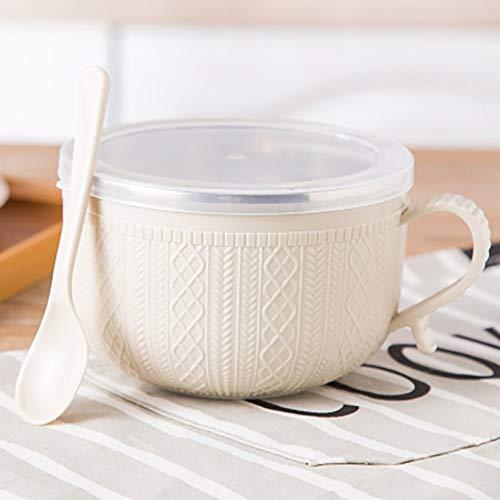 Tazón de fideos instantáneos con tapa y asa, recipiente de acero inoxidable para arroz, cuenco de sopa, doble aislamiento, utensilios para el hogar (14 x 9,5 cm), color beige