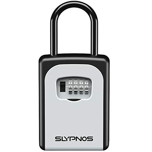 Slypnos Schlüsseltresor feuerfest, Schlüsselsafe mit 4-Stelliger Zahlencode und 2 Montagemöglichkeiten, Zinklegierung Wetterfest Schlüsselbox, passend für Schlüssel und Plastikkarten