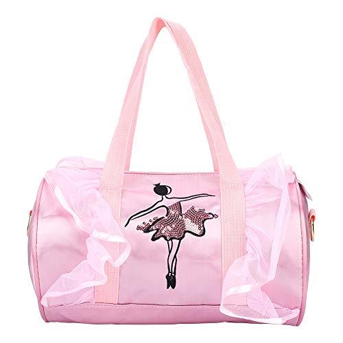 Annjom Robuste Pailletten-Tanz-Reisetasche mit großer Kapazität, 3 Arten Ballett-Pantoffel-Tasche, Getränke, Handtuch, Kleidung für Kinder zur(Pink Long Yarn)