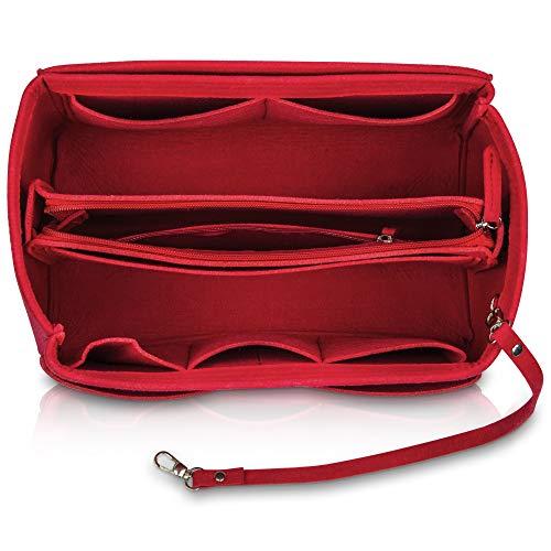 umatter ® Handtaschen Organizer aus Filz mit Schlüsselanhänger und Sicherheitsfach - Ideal als Taschenorganizer baginbag der Handtasche, Bag Organizer (Rot, S)