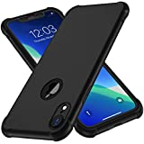 iPhone XR Case, with[2 x Tempered Glass Screen Protector] ORETech 360 Full Body Shockproof Anti-Scratch Protection Cover Ultra-Thin Hard PC + Soft Rubber Silicone Case for iPhone XR 6.1'' 2018 - Black