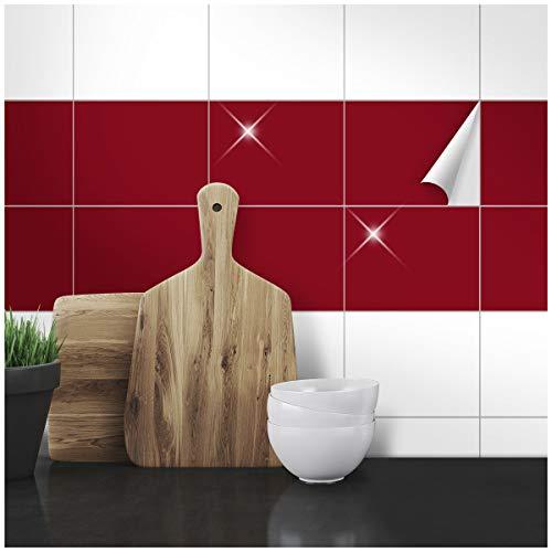 Wandkings Fliesenaufkleber - Wähle eine Farbe & Größe - Weinrot Glänzend - 14,5 x 19,5 cm - 50 Stück für Fliesen in Küche, Bad & mehr