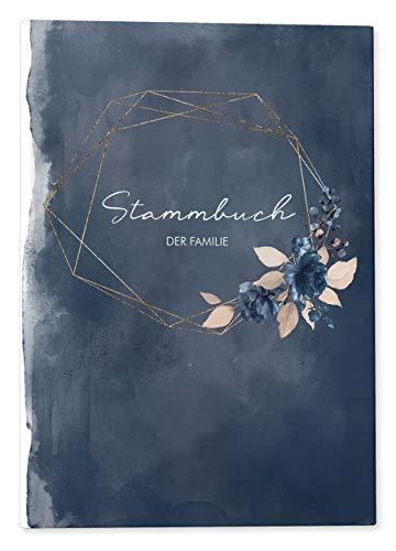 DeinWeddingshop Stammbuch der Familie - Familienstammbuch Hochzeit Standesamt - Watercolor Breeze - Hardcover 16x21cm (blau)