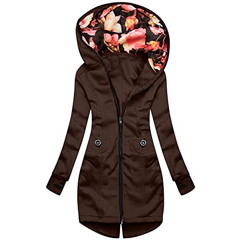 Coats for Women Patchwork Hoodies Long Sleeve Zipper Up Coat Solid Color Coat with Pockets Drawstring Slim Jacket Brown