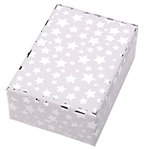 Geschenkpapier Rolle 50 cm x 50 m, Motiv Diadem, Hochglänzend silberne Sterne leuchten aus dem mattweißen Fond. Für Weihnachten, Geburtstag. Weihnachtsgeschenkpapier