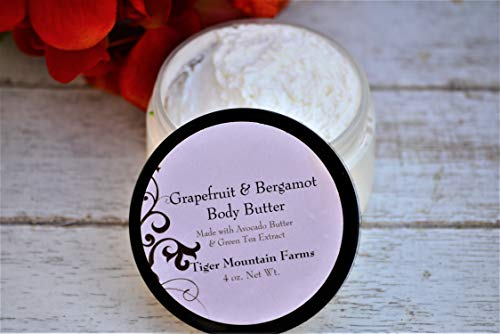 All Natural Whipped Body Butter | Grapefruit & Bergamot Scented Lotion Made with Avocado Butter | Lotion for Eczema and Dry Skin | 4 oz jar