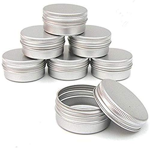 QXcom 5 Oz 6 Packs Round Tin Cans Aluminum Tin Screw Top Lid Metal Steel Tins 150g Empty Cosmetic Sample Container Storage Organization for DIY Salve Crafts Spices Candies Tea Accessories