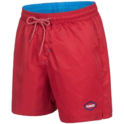 A. Salvarini Herren Badeshorts Badehose Shorts Schwimmshorts Beachshorts AS135 [AS-135-Rot-Blau-Gr.XXL]