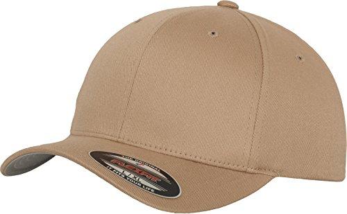 Flexfit Unisex Baseball Cap Wooly Combed, Kappe ohne Verschluss für Herren, Damen und Kinder, Farbe khaki, Größe S/M