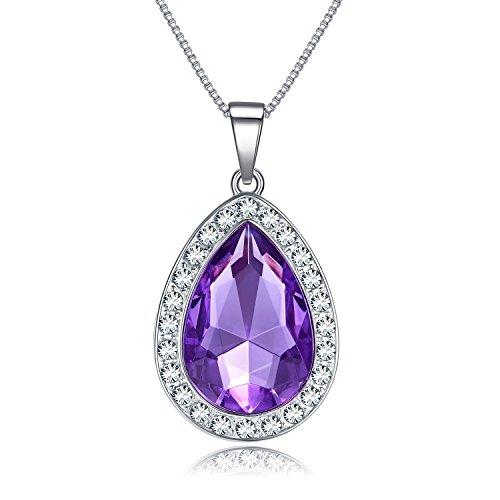 Vcmart Amuleto Morado de Cristal en Forma de lágrima Collar bisutería de Moda Regalo para niñas