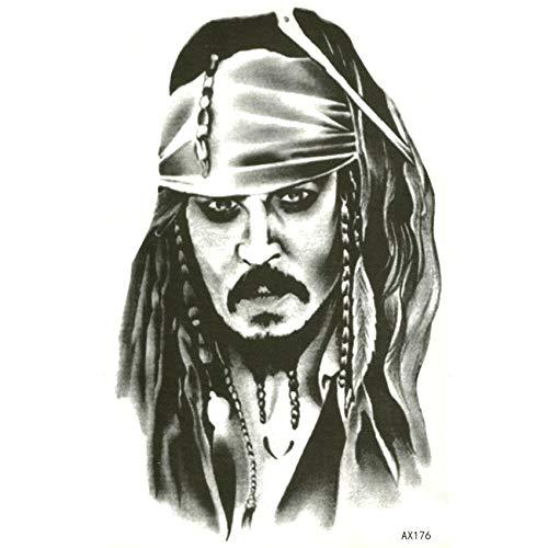 20pcs Pirates of the Caribbean Captain Jack Sparrow Waterproof Temporary Tattoos men body art henna tattoo harajuku tatuajes