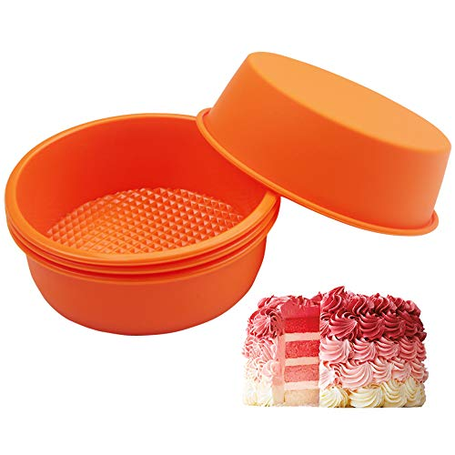 COOKNBAKE Silicone Mould for 4.5 inch Layer Cake Pan Round Cylinder Rainbow Cake Pans Vegetable Pancakes Pizza Crust Omelet Frittata Set of 4