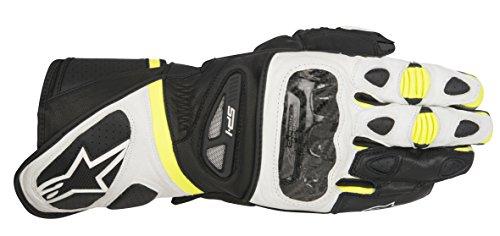 Guantes de moto negro, blanco y amarillo neón