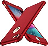 ORETECH Designed for iPhone 7 Case,iPhone 8 Case with[2 x Tempered Glass Screen Protectors] 360° Full Body Protection Cover Hard PC Soft Rubber Silicone for iPhone 7 Case/8 Case -4.7''- Metallic Red