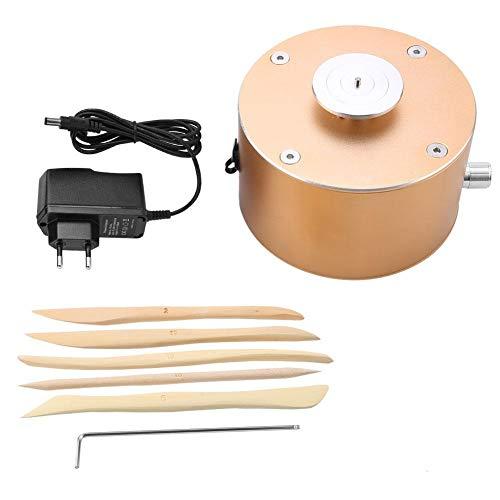 Akozon DIY Arcilla Herramienta Máquina de Cerámica Mini Torno de Alfarero 12V 1500RPM Plato giratorio de 4,5 cm con Herramientas de Ceramica(Ronda 4.5cm)