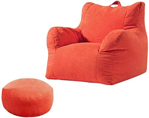 Home Large Highback Bean Bag Chairs, Lazy Lounger Toddler Bean Bag Chair with Footrest Handle Design Soft Fabric for Indoor and Outdoor-Red_X-Large