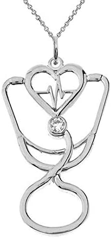 Outline お歳暮 Sterling Silver Diamond Cardiogram Pendant Stethoscope 好評受付中