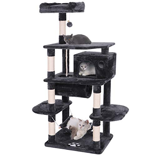 BEWISHOME Cat Tree Condo Furniture Kitten Activity Tower Pet Kitty Play House Playground